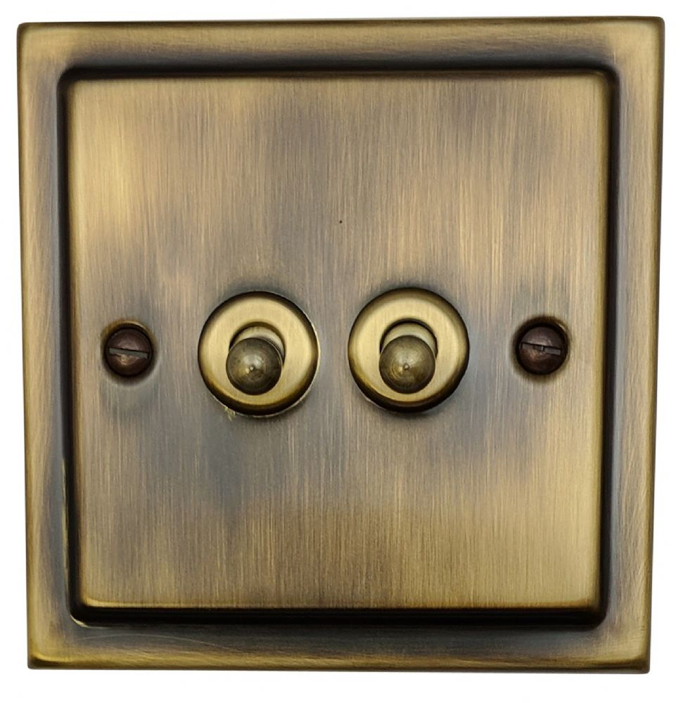 G&H TAB282 Trimline Plate Antique Bronze 2 Gang 1 or 2 Way Toggle Light Switch